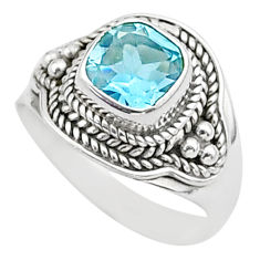 925 silver 2.68cts solitaire natural blue topaz boho ring size 7 t37828