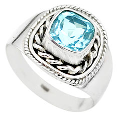 925 silver 2.58cts solitaire natural blue topaz cushion ring size 6.5 t23204