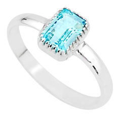 925 silver 1.28cts solitaire natural blue topaz octagan ring size 7 t7387