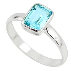 925 silver 2.25cts solitaire natural blue topaz octagan ring size 8 t7278