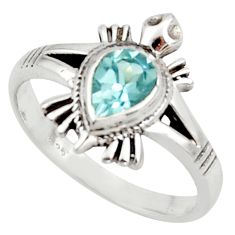 925 silver 1.55cts solitaire natural blue topaz pear tortoise ring size 8 r40652