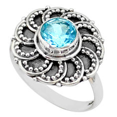 925 silver 1.06cts solitaire natural blue topaz round flower ring size 7 t43837