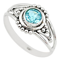 0.74cts natural blue topaz round shape graduation handmade ring size 8.5 t9349