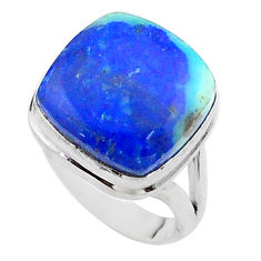 925 silver 14.84cts solitaire natural blue turquoise azurite ring size 6 t44917