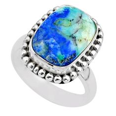 925 silver 6.89cts solitaire natural blue turquoise azurite ring size 6.5 t37608