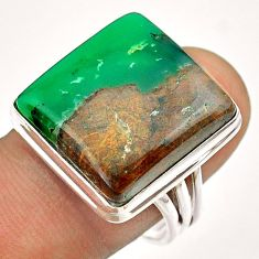 925 silver 18.47cts solitaire natural boulder chrysoprase ring size 8.5 t54337