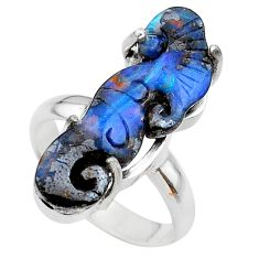 925 silver 12.60cts solitaire natural boulder opal carving ring size 7 t24195