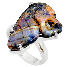 925 silver 17.91cts solitaire natural boulder opal carving ring size 8 t24184