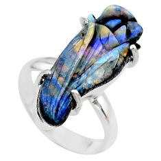 925 silver 13.87cts solitaire natural boulder opal carving ring size 8 t24188