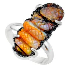 925 silver 15.29cts solitaire natural boulder opal carving ring size 8 t24198