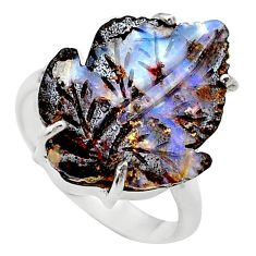 925 silver 14.14cts solitaire natural boulder opal carving ring size 8.5 t24192