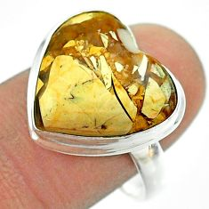 925 silver 12.10cts solitaire natural brecciated mookaite ring size 9 t54269