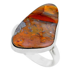 925 silver 13.15cts solitaire natural brown boulder opal ring size 7 t39515