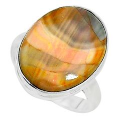 925 silver 13.70cts solitaire natural brown imperial jasper ring size 7.5 t10471