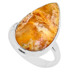 925 silver 13.87cts solitaire natural brown plum wood jasper ring size 9 t27708