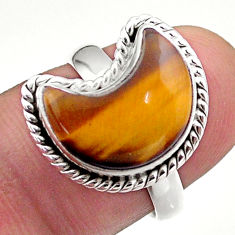 925 silver 5.82cts solitaire natural brown tiger's eye moon ring size 7 t47672