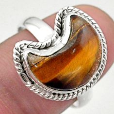 925 silver 6.36cts solitaire natural brown tiger's eye moon ring size 8 t47691