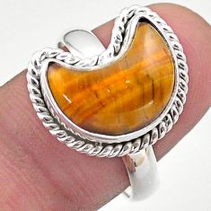 925 silver 6.10cts solitaire natural brown tiger's eye moon ring size 9 t47659