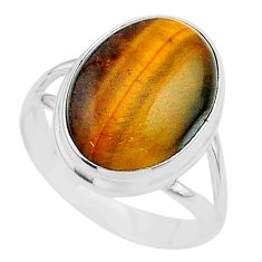 925 silver 13.79cts solitaire natural brown tiger's eye oval ring size 10 t24731