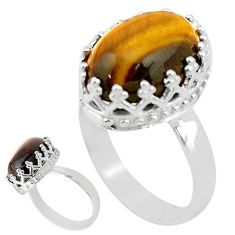 925 silver 6.26cts solitaire natural brown tiger's eye oval ring size 6 t20356