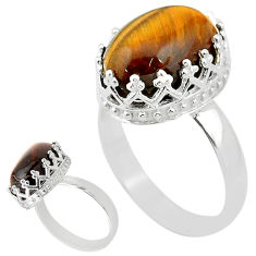 925 silver 6.26cts solitaire natural brown tiger's eye oval ring size 8 t20358