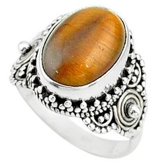 925 silver 6.75cts solitaire natural brown tiger's eye oval ring size 7.5 t15533