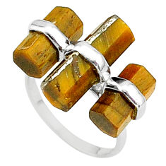 925 silver 11.90cts solitaire natural brown tiger's eye ring size 6 t36111