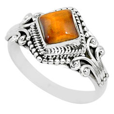925 silver 1.45cts solitaire natural brown tiger's eye ring size 7 t3139