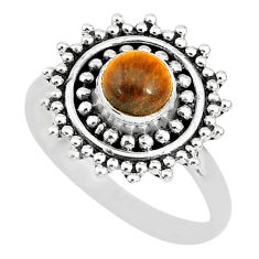 925 silver 0.85cts solitaire natural brown tiger's eye round ring size 5 t3124