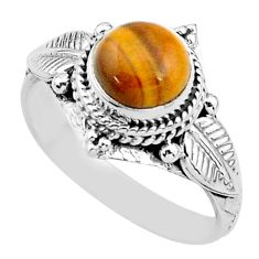 925 silver 2.58cts solitaire natural brown tiger's eye round ring size 7 t3604