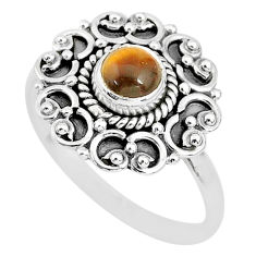 925 silver 0.82cts solitaire natural brown tiger's eye round ring size 8 t3129