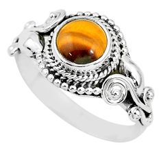 925 silver 2.72cts solitaire natural brown tiger's eye round ring size 8 t3135
