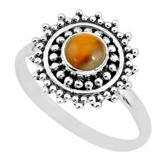 925 silver 0.87cts solitaire natural brown tiger's eye round ring size 8 t3159