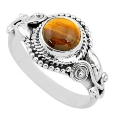 925 silver 2.71cts solitaire natural brown tiger's eye round ring size 8 t3608