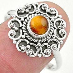 925 silver 0.91cts solitaire natural brown tiger's eye round ring size 9 t3623