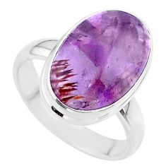 925 silver 8.05cts solitaire natural cacoxenite super seven ring size 7.5 t37129