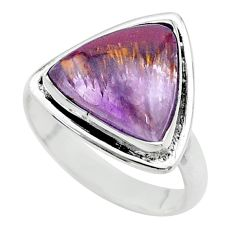 925 silver 8.91cts solitaire natural cacoxenite super seven ring size 8.5 t56906