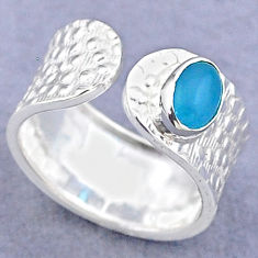 925 silver 1.45cts solitaire natural chalcedony adjustable ring size 7.5 t47363