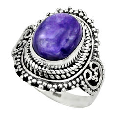 925 silver 5.09cts solitaire natural charoite (siberian) ring size 7 r49536