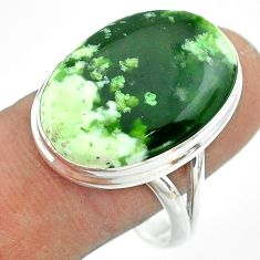 925 silver 15.55cts solitaire natural chrome chalcedony oval ring size 11 t54258