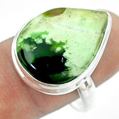 925 silver 15.02cts solitaire natural chrome chalcedony pear ring size 10 t54252