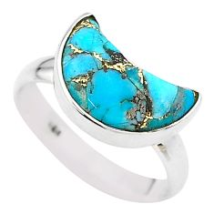 925 silver 5.54cts moon natural copper turquoise fancy ring size 8 t22080