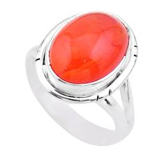 925 silver 6.04cts solitaire natural cornelian (carnelian) ring size 7 t45957