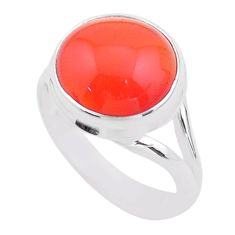 925 silver 6.54cts solitaire natural cornelian (carnelian) ring size 7 t45978