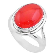 925 silver 6.74cts solitaire natural cornelian (carnelian) ring size 8 t45960