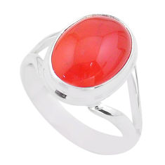 925 silver 6.57cts solitaire natural cornelian (carnelian) ring size 8 t45963