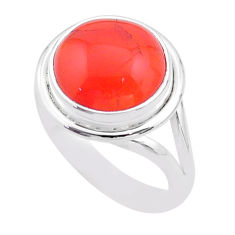 925 silver 6.02cts solitaire natural cornelian (carnelian) ring size 8 t45968