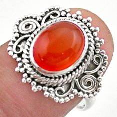 925 silver 4.26cts solitaire natural cornelian (carnelian) ring size 8 t46169