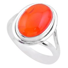 925 silver 6.78cts solitaire natural cornelian (carnelian) ring size 8.5 t45944