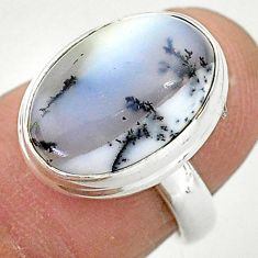 925 silver 6.83cts solitaire natural dendrite opal (merlinite) ring size 6 t3504